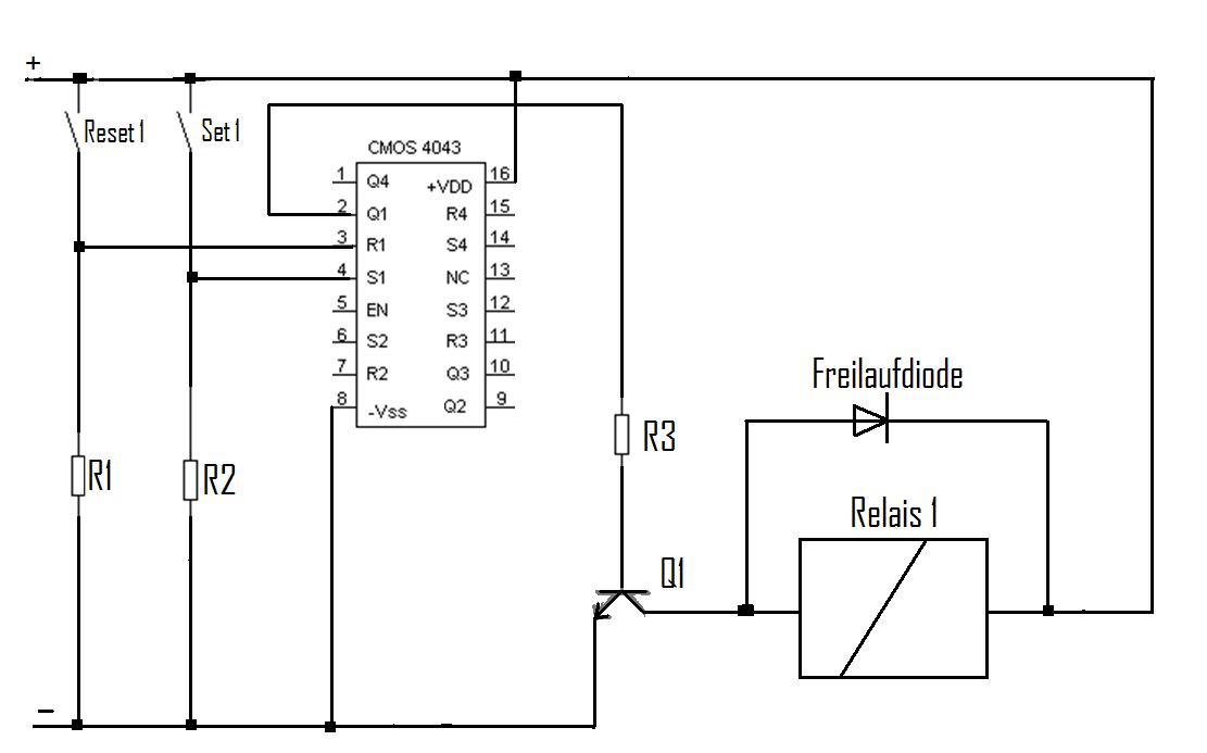 relais mit r s flip flop schalten wie werte berechnen. Black Bedroom Furniture Sets. Home Design Ideas