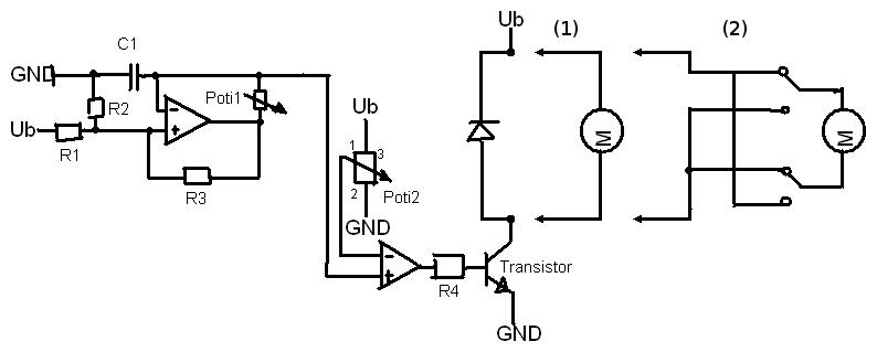 Hilfe! Bipolare Wechselstrommotor-Schaltung mit OP und Transistor ...