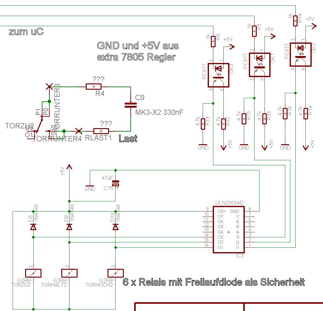Anschluss Relais über Optokoppler (PC817x) und Treiber (ULN2003A ...