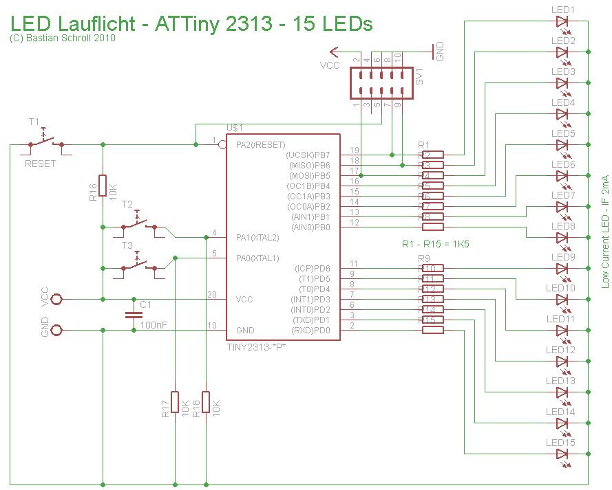 attiny 2313 led lauflicht schaltung so richtig