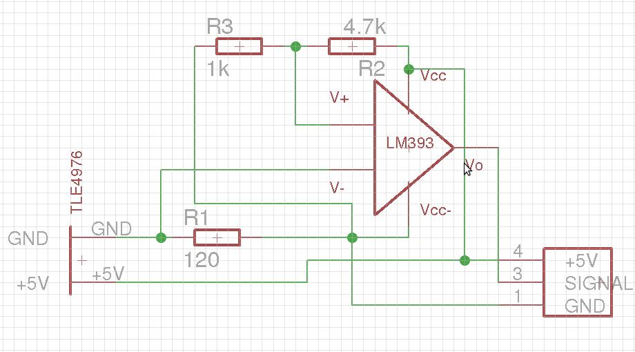 LM393 Comparator  Hallsensor TLE4976  Mikrocontroller