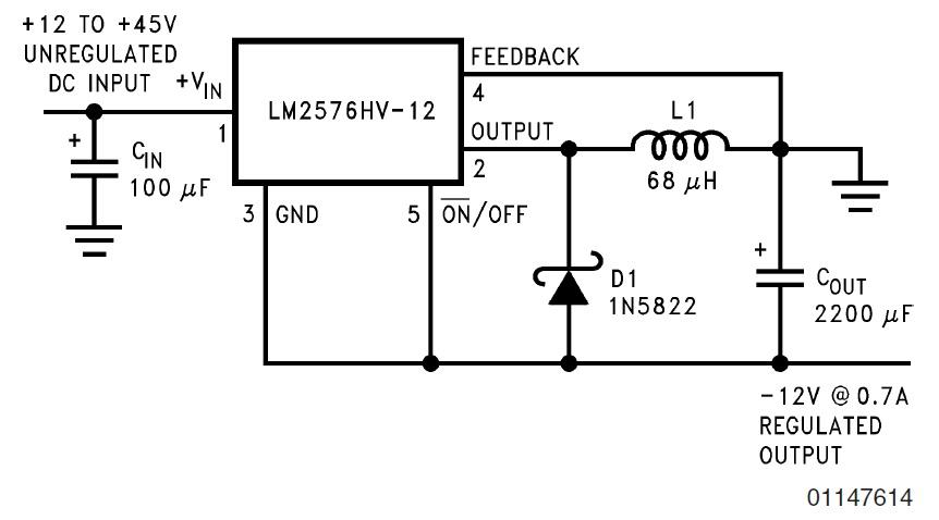 Собрал схему на стабилизаторе LM2576T-12 для отрицательного напряжения. включил - стабилизатор потребляет ток 2А без...