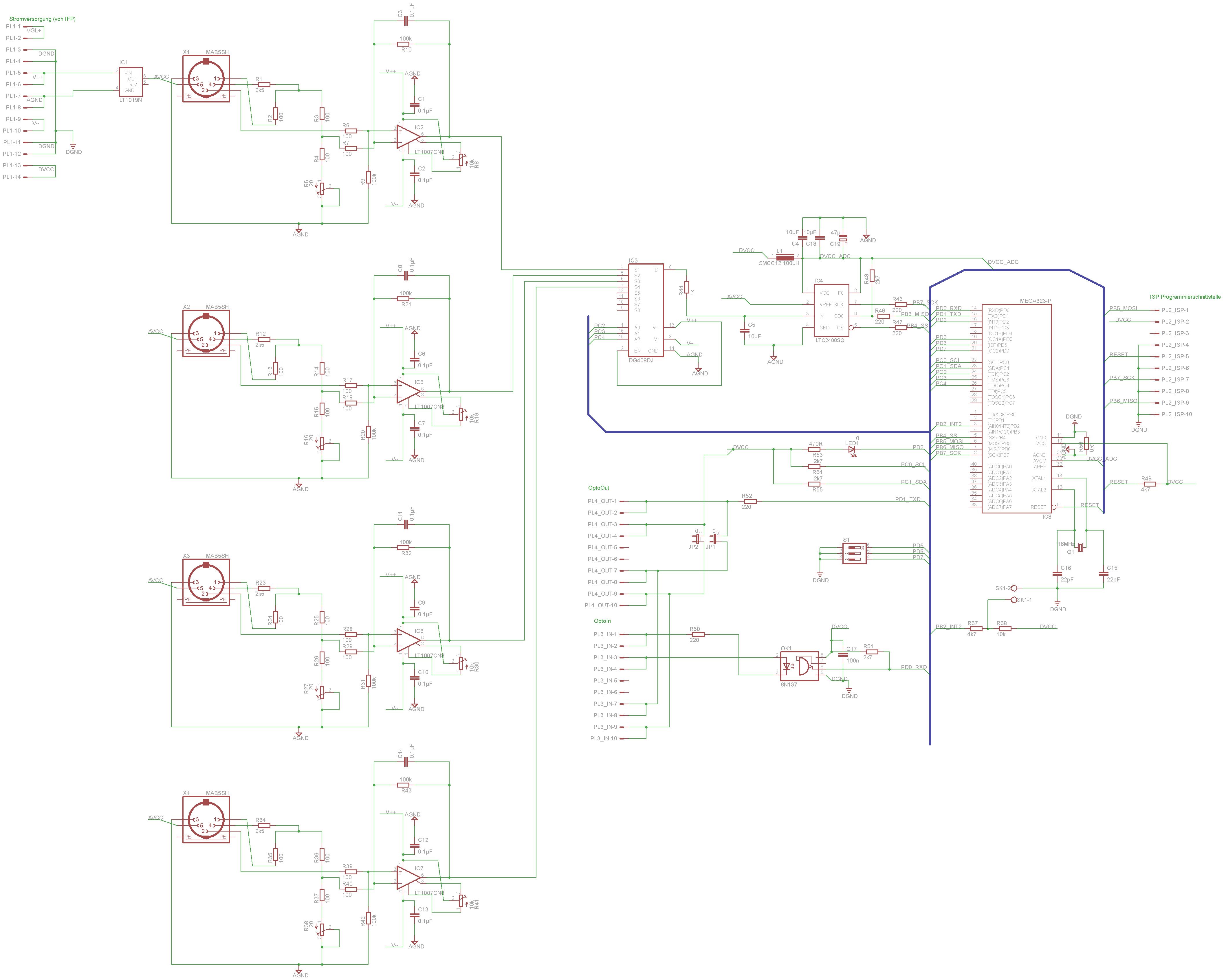 4-kanal PT100 Multiplexer 24bit Schaltung, Messbrücke, ratiometrisch ...