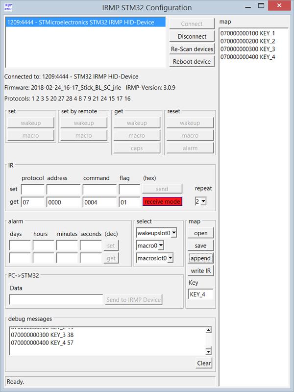 IRMP auf STM32 - ein USB IR Empfänger/Sender/Einschalter mit Wakeup