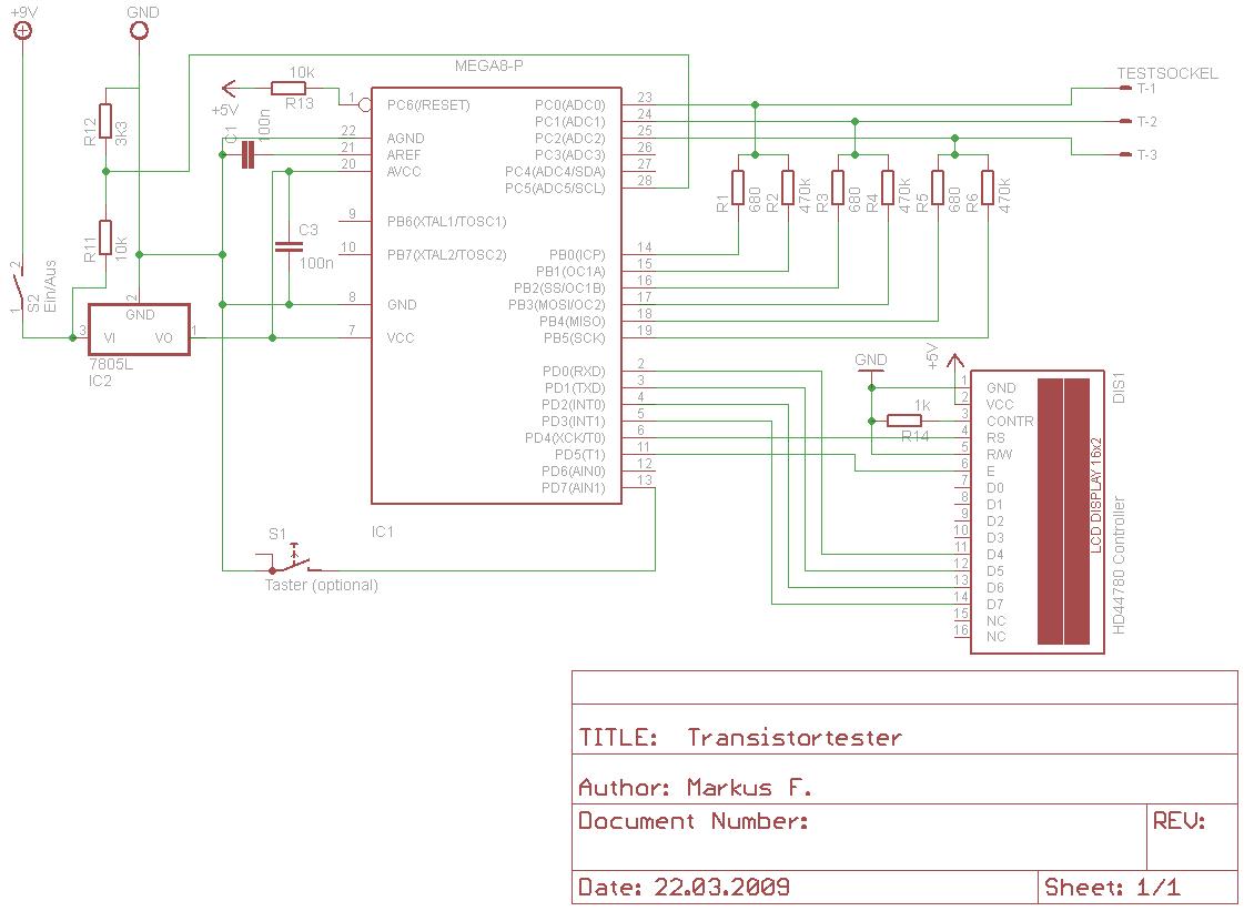 схема тестера без автоматического отключения.  Присоединённое изображение (Нажмите для увеличения) .