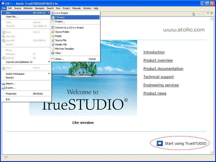 Truestudio new c project.jpg