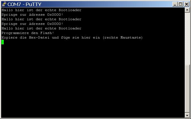 """PuTTY: Warten auf die HEX-Datei """"Anwendung.hex"""""""