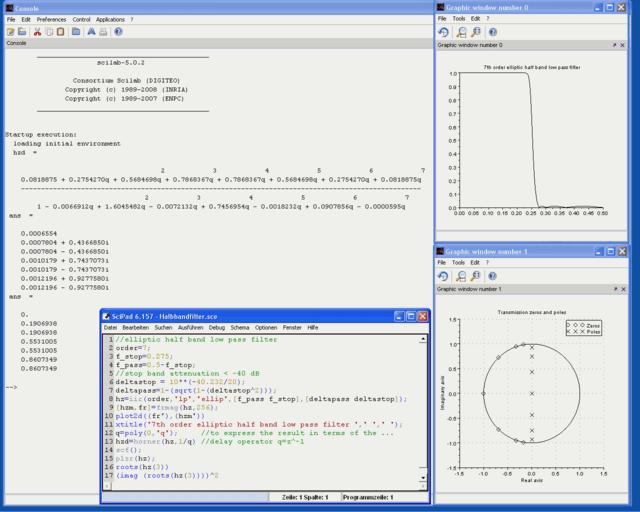 Mit Scilab berechnetes Halbbandfilter 7.Ordnung
